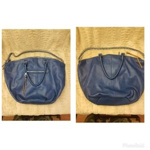 Steve Madden Large Blue Leather Tote